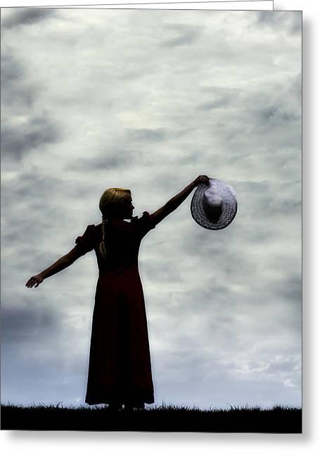 Blonde Girl Photographs Greeting Cards - Enjoying Dawn Greeting Card by Joana Kruse