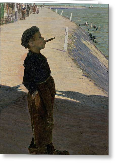 Smoking Greeting Cards - Enjoying Life, Volendam, Zuider Zee Greeting Card by George Sherwood Hunter