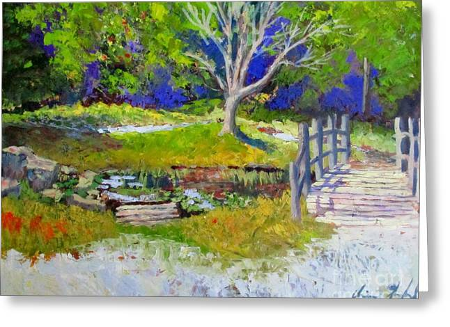 Nature Center Pond Paintings Greeting Cards - Enjoying Mother Nature Greeting Card by Chris Shepherd