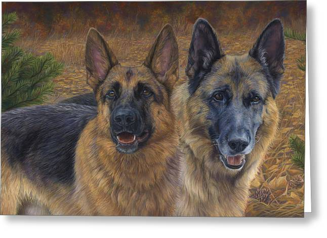 German Shepherd Greeting Cards - Enjoying the Fall Greeting Card by Lucie Bilodeau