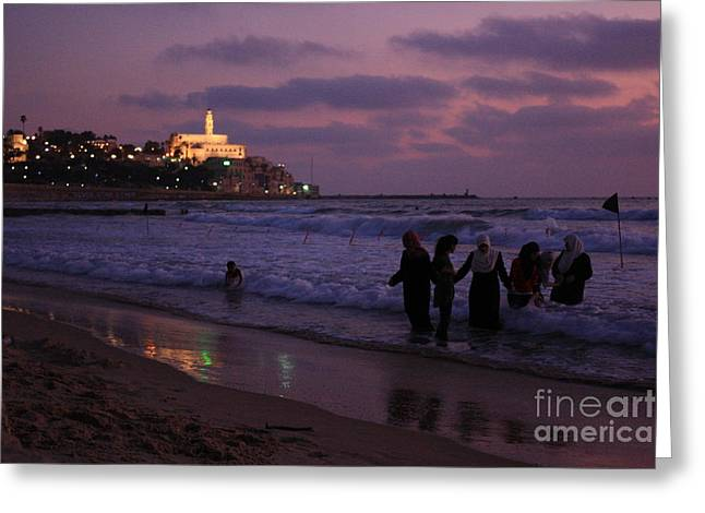 Yafo Greeting Cards - Enjoying the Sea Greeting Card by Guy Grobler