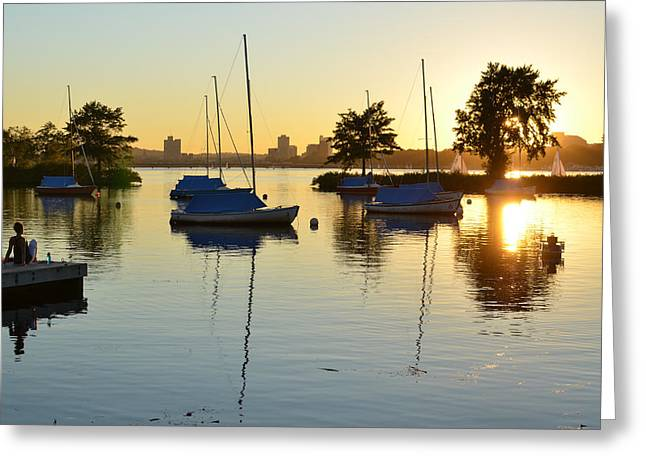 Charles River Greeting Cards - Enjoying the sunset on the Charles River in Boston Greeting Card by Toby McGuire