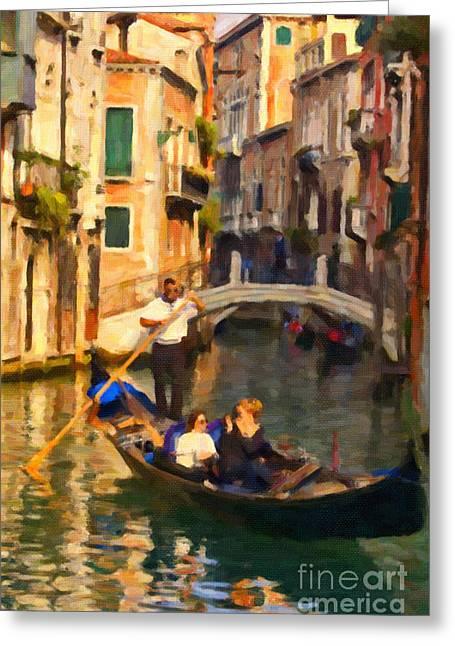 Gondolier Greeting Cards - Enjoying Venice Greeting Card by Sheldon Kralstein