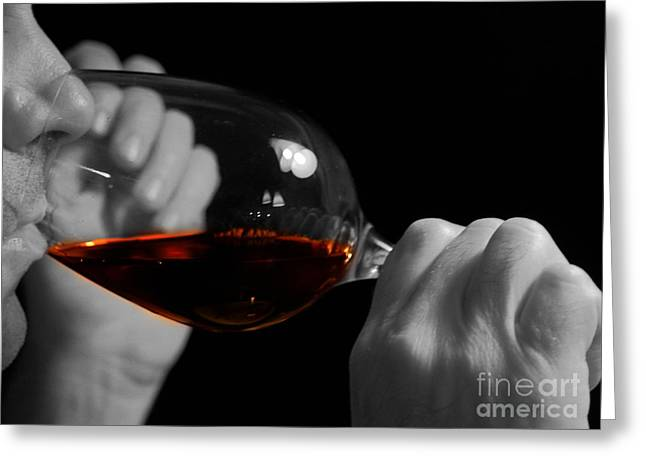 Winetasting Greeting Cards - Enjoying Wine Greeting Card by Patricia Hofmeester