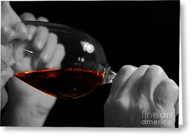 Enjoying Wine Greeting Card by Patricia Hofmeester