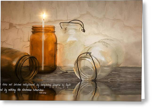Candle Lit Greeting Cards - Enlighten Greeting Card by Robin-lee Vieira