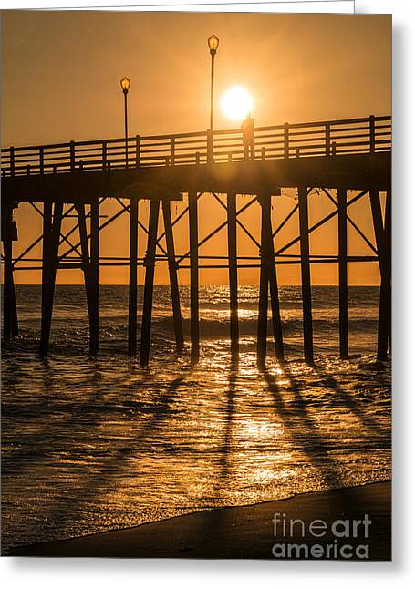 Sparkling Beach Greeting Cards - Enlightened at Oceanside Pier Greeting Card by Ana V  Ramirez