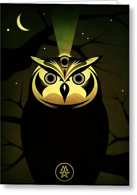 Horus Greeting Cards - Enlightened Owl Greeting Card by Milton Thompson