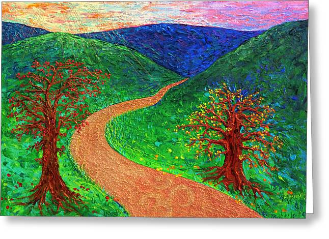 Enlightened Path Greeting Cards - Enlightened Path - Dawn Greeting Card by Julie Turner