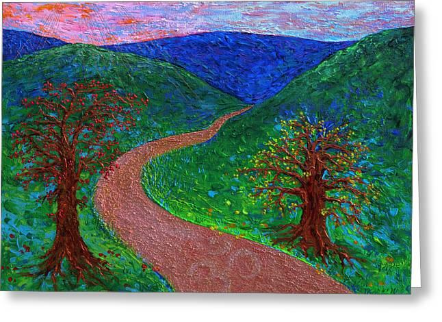 Enlightened Path Greeting Cards - Enlightened Path - Dusk Greeting Card by Julie Turner