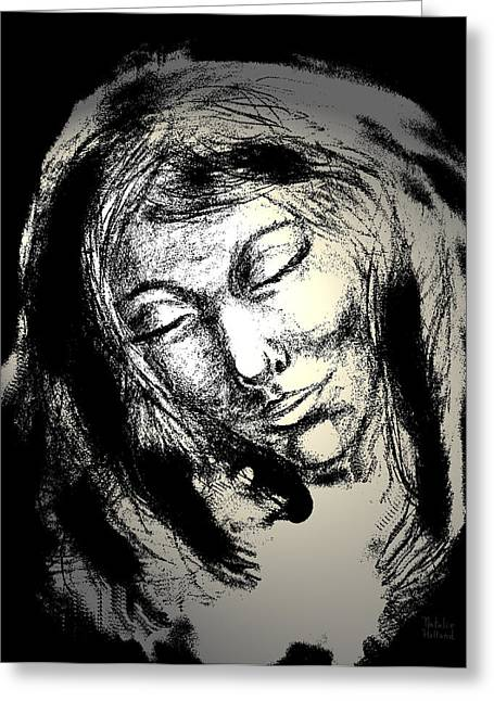 Spiritual Portrait Of Woman Mixed Media Greeting Cards - Enlightenment Greeting Card by Natalie Holland