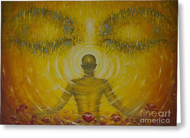 Universal Paintings Greeting Cards - Enlightenment Greeting Card by Vrindavan Das