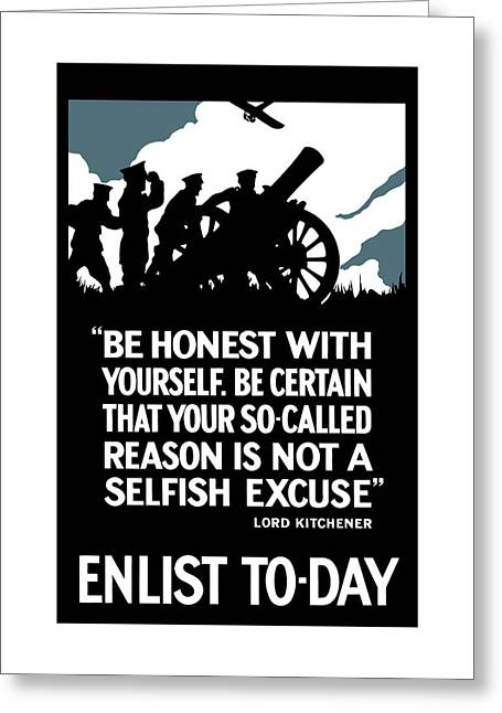 British Propaganda Greeting Cards - Enlist To-Day - Lord Kitchener  Greeting Card by War Is Hell Store