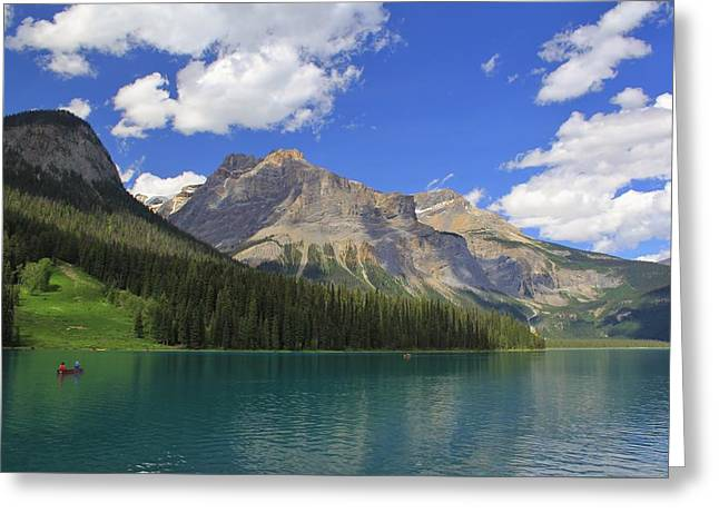 Canoe Photographs Greeting Cards - Enmerald Lake Jasper National Park Greeting Card by Mo Barton