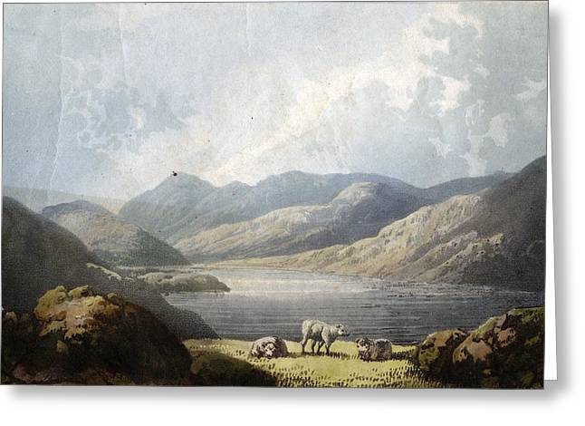 Fell Greeting Cards - Ennerdale Water, 1815 Litho Greeting Card by English School
