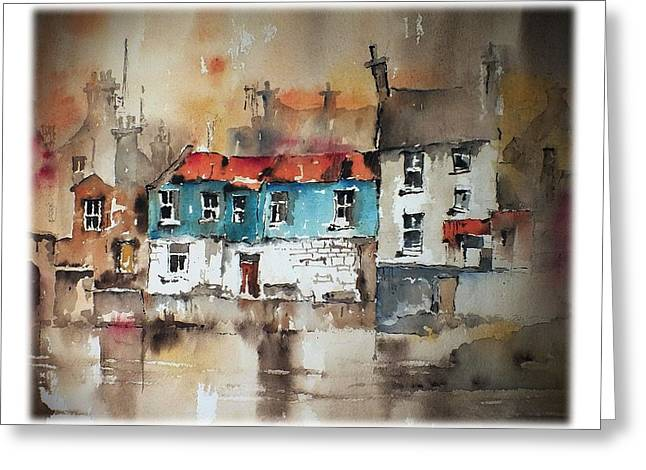 Ennistymon Greeting Card featuring the painting Ennistymon Backwater Clare by Val Byrne
