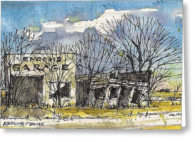 Tim Mixed Media Greeting Cards - Enochs Garage Greeting Card by Tim Oliver