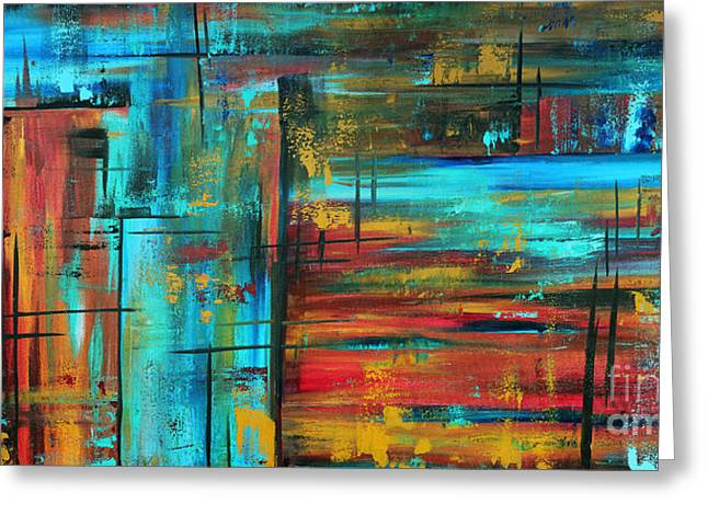 Enormous Greeting Cards - Enormous 3x5 Abstract Art Huge Original Contemporary Painting INTO AUTUMN by MADART Greeting Card by Megan Duncanson