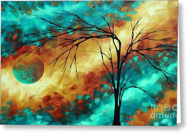 Emerald Green Abstract Greeting Cards - Enormous Abstract Art Brilliant Colors Original Contemporary Painting REACHING FOR THE MOON MADART Greeting Card by Megan Duncanson