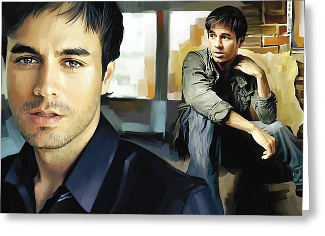 Singer Songwriter Greeting Cards - Enrique Iglesias Artwork 1 Greeting Card by Sheraz A