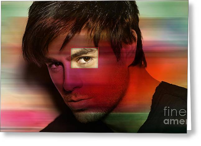 Super Stars Greeting Cards - Enrique Iglesias Greeting Card by Marvin Blaine