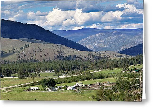 Pastureland Mixed Media Greeting Cards - Enroute to Okanagan Valley Greeting Card by Janet Ashworth