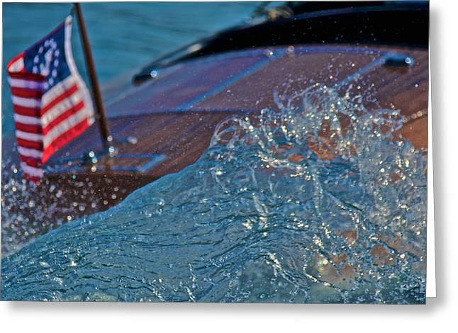 Mahogany Red Greeting Cards - Ensign and Wake Greeting Card by Steven Lapkin