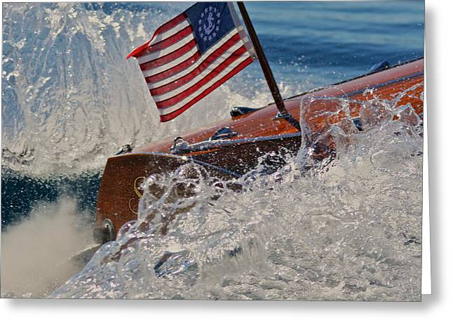 Runabout Greeting Cards - Tahoe Stars and Stripes Greeting Card by Steven Lapkin