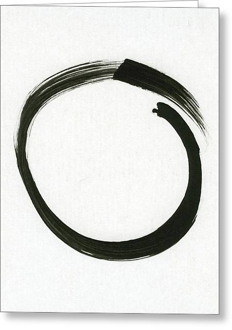 Contemporary Symbolism Greeting Cards - Enso #1 - Zen Circle Minimalistic Black and White Greeting Card by Marianna Mills