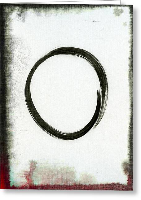 Contemporary Symbolism Greeting Cards - Enso #2 - Zen Circle Abstract Black and Red Greeting Card by Marianna Mills