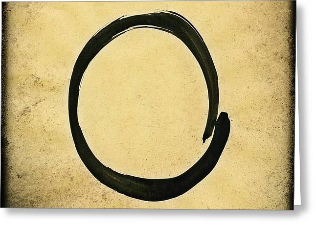 Enso #4 - Zen Circle Abstract Sand And Black Greeting Card by Marianna Mills