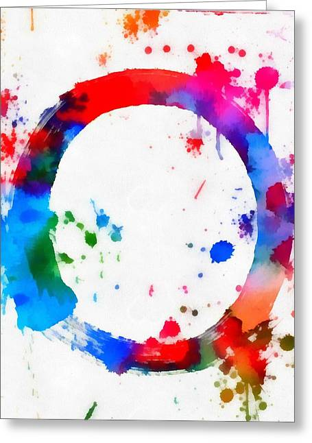Enso Greeting Cards - Enso Circle Paint Splatter Greeting Card by Dan Sproul