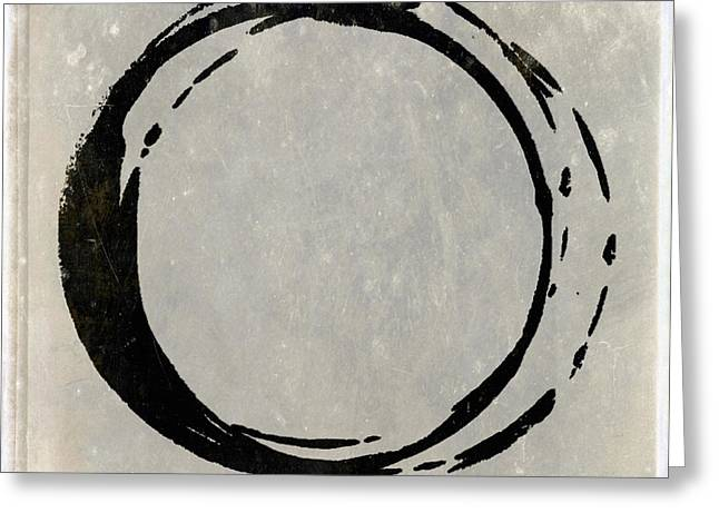 Enso Greeting Cards - Enso No. 107 Black on Taupe Greeting Card by Julie Niemela
