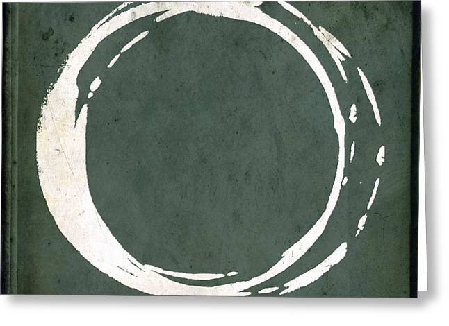 Chic Digital Greeting Cards - Enso No. 107 Green Greeting Card by Julie Niemela
