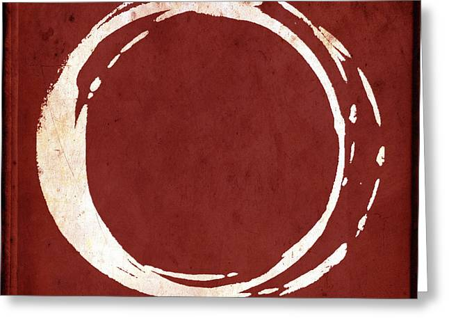 Red Art Greeting Cards - Enso No. 107 Red Greeting Card by Julie Niemela