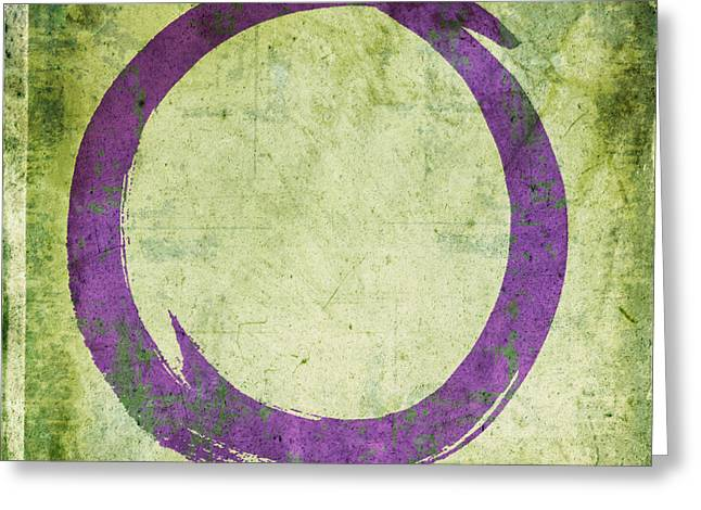 Recently Sold -  - Purple Abstract Greeting Cards - Enso No. 108 Purple on Green Greeting Card by Julie Niemela