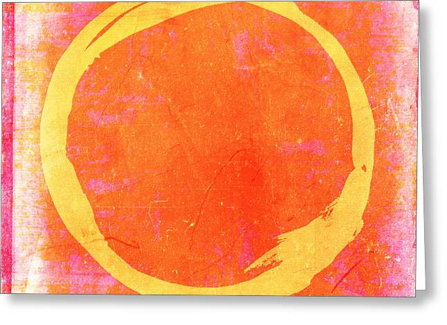 Enso Greeting Cards - Enso No. 109 Yellow on Pink and Orange Greeting Card by Julie Niemela