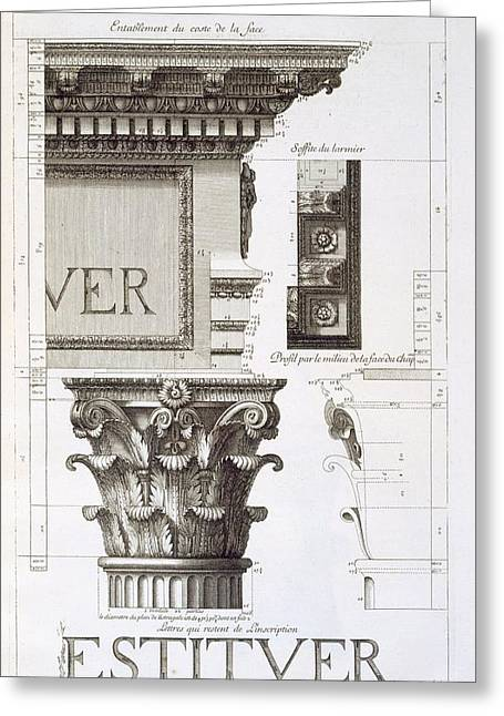 Entablature, Capital And Inscription Greeting Card by Antoine Babuty Desgodets