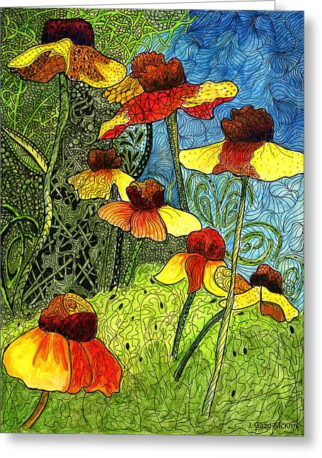 Vivid Colour Drawings Greeting Cards - Entangled Garden Greeting Card by Jo-Anne Gazo-McKim