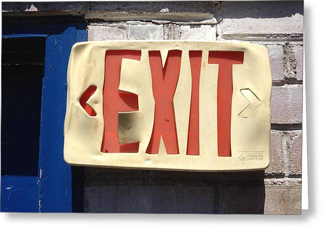 Exit Sign Greeting Cards - Enter Here Greeting Card by Scott Collin