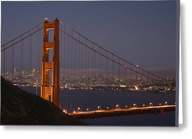 San Francisco Pyrography Greeting Cards - Enter the Fog Greeting Card by DUG Harpster