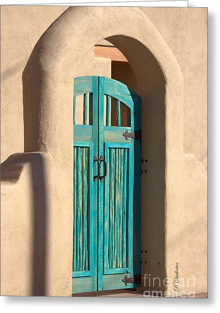 Las Cruces Landscape Greeting Cards - Enter Turquoise Greeting Card by Barbara Chichester
