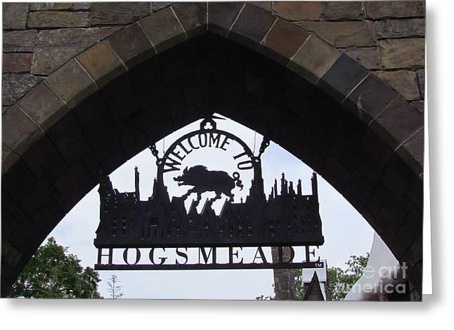 Entering Hogsmeade Greeting Card by Elizabeth Dow