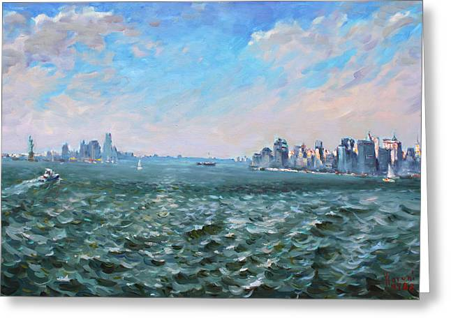 Manhattan Paintings Greeting Cards - Entering in New York Harbor Greeting Card by Ylli Haruni