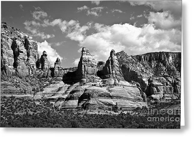 Fineartphotography Greeting Cards - Entering Sedona in Black and White Greeting Card by Lee Craig