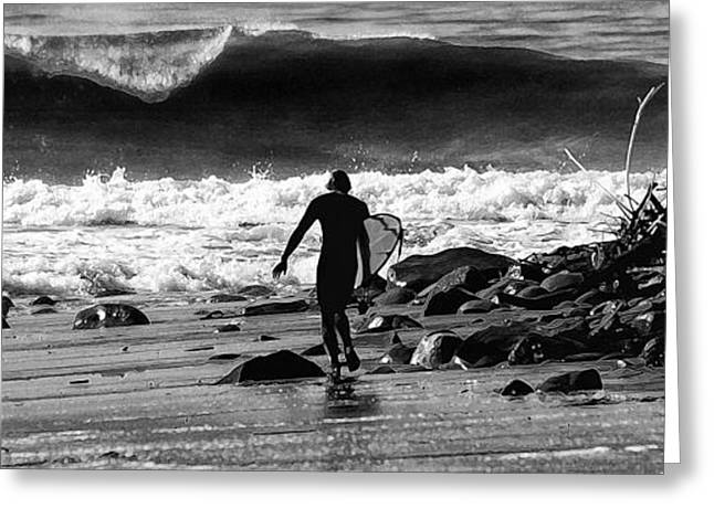 Surfer Art Greeting Cards - Entering The Battle Zone Greeting Card by Ron Regalado