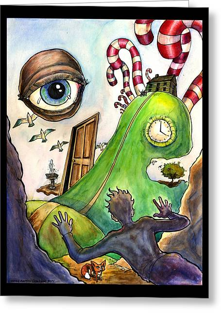 Surreal Landscape Drawings Greeting Cards - Entering the Lucid Dream Greeting Card by John Ashton Golden