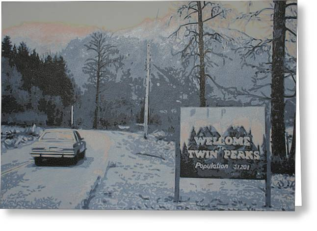 Special Agent Dale Cooper Greeting Cards - Entering The Town of Twin Peaks 5 Miles South of The Canadian Border Greeting Card by Luis Ludzska