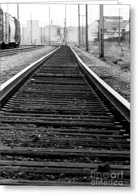 Steel Rail Greeting Cards - Entering the Train Yard. Washington DC Greeting Card by Thomas Marchessault