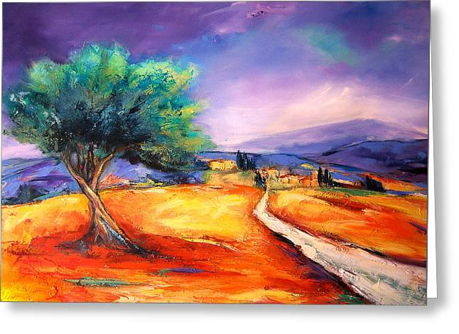 Olives Greeting Cards - Entering the Village Greeting Card by Elise Palmigiani